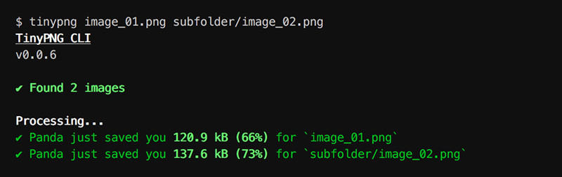 Processing multiple PNG images with TinyPNG CLI
